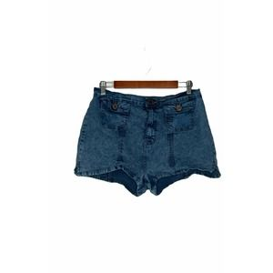 Lux Womens Front Pocket Jean Shorts Blue Size 12